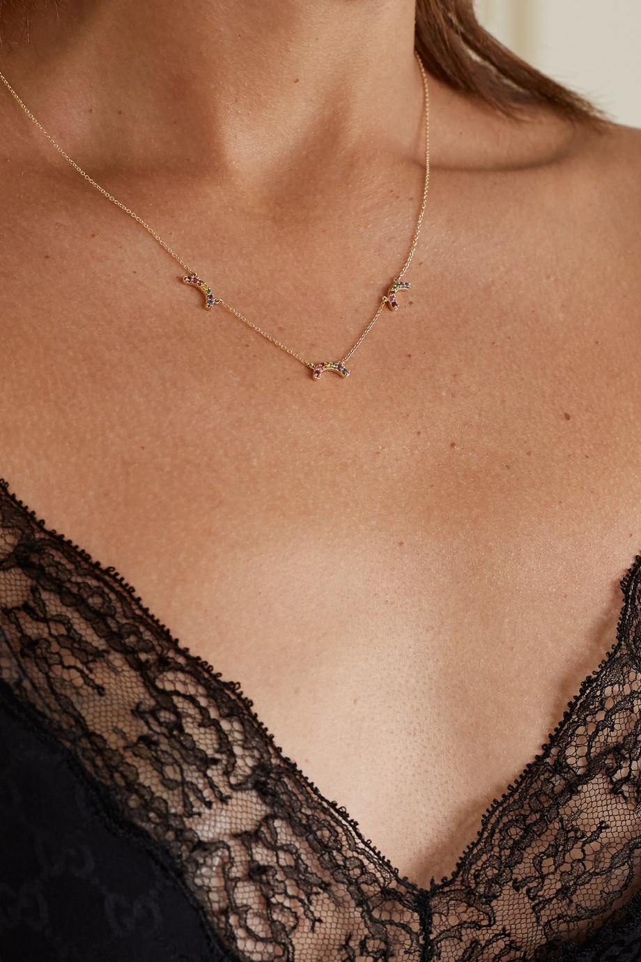Andrea Fohrman Collier en or 14 carats et pierres multiples Single Rainbow
