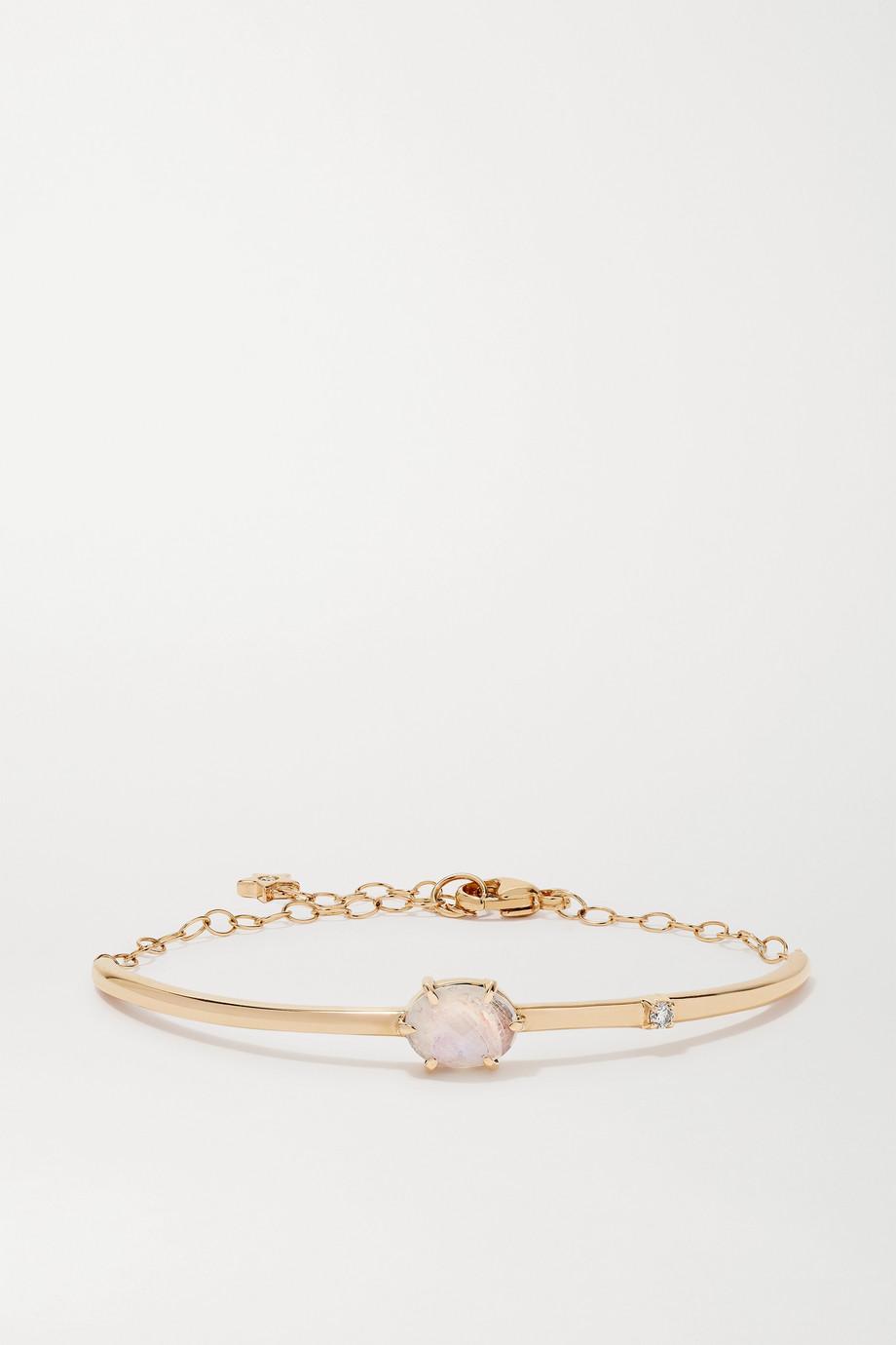 Andrea Fohrman Mini Cosmo Armband aus 14 Karat Gold mit Mondstein und Diamanten