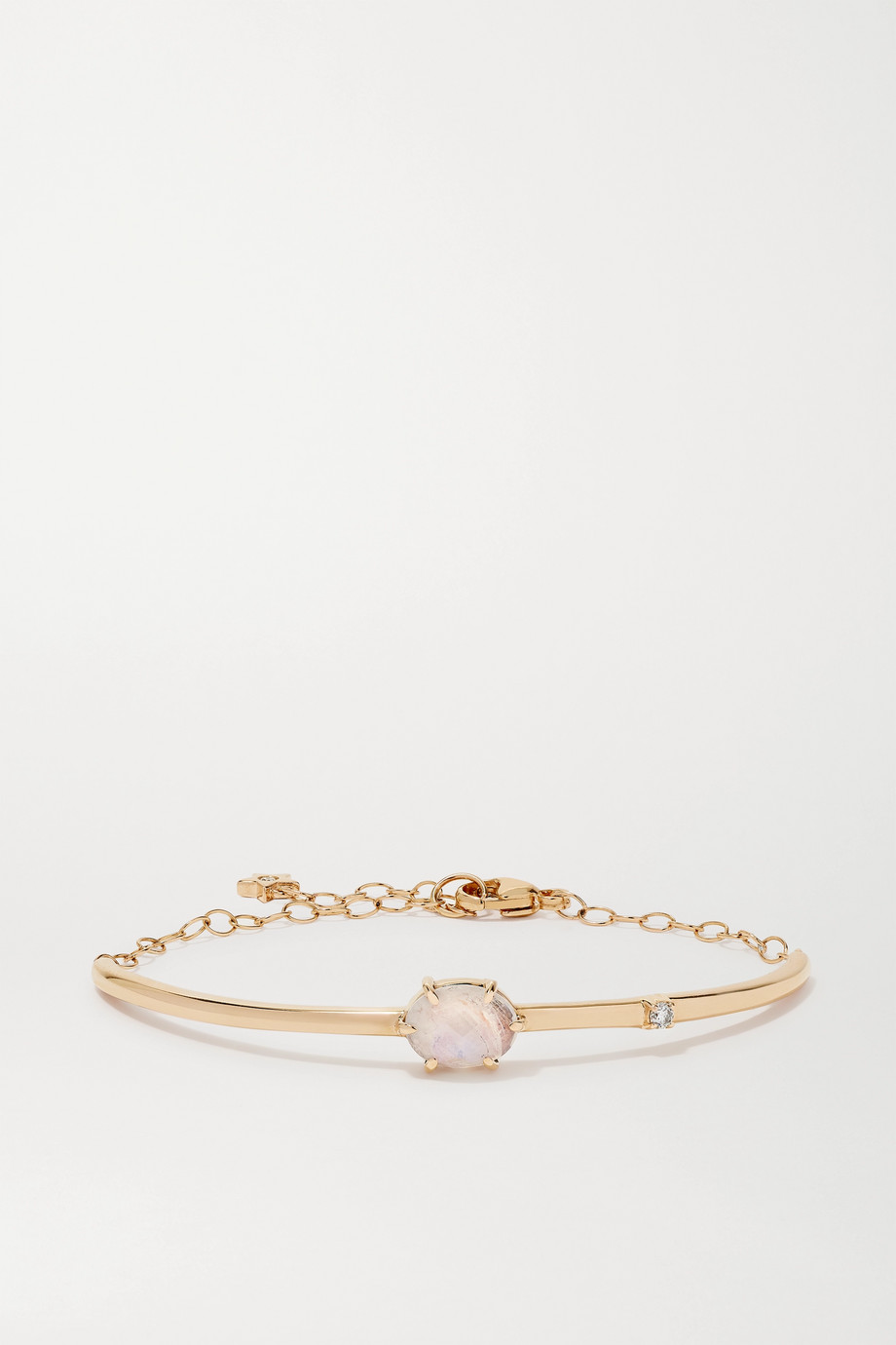 Andrea Fohrman Mini Cosmo 14-karat gold, moonstone and diamond bracelet