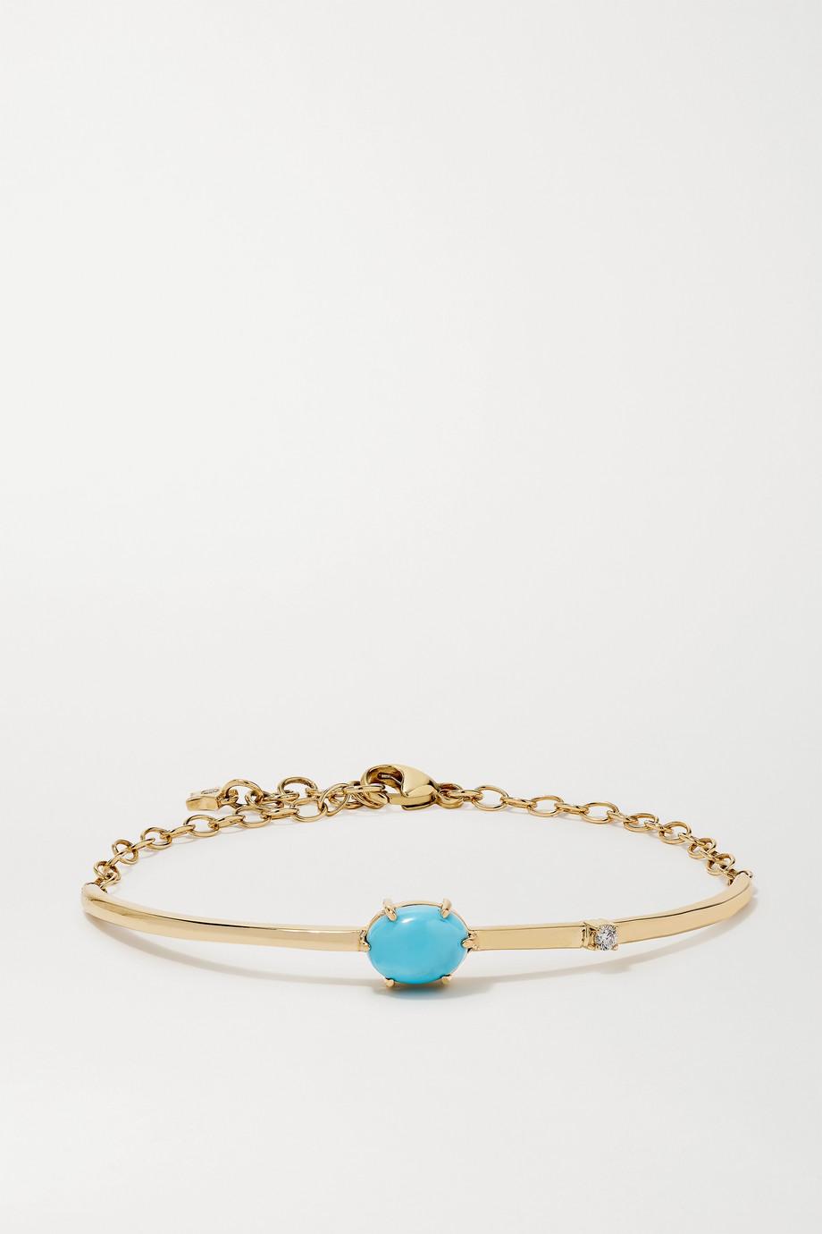 Andrea Fohrman Mini Cosmo 14-karat gold, turquoise and diamond bracelet