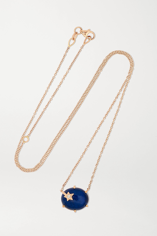 Andrea Fohrman Collier en or rose 18 carats, lapis-lazuli et diamant Mini Galaxy