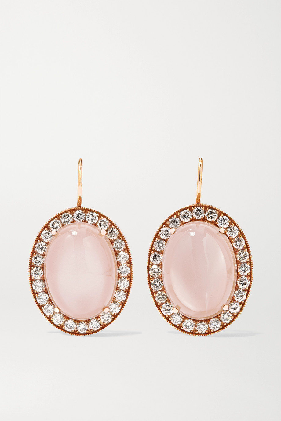 Andrea Fohrman Boucles d'oreilles en or rose 18 carats, pierres de lune et diamants