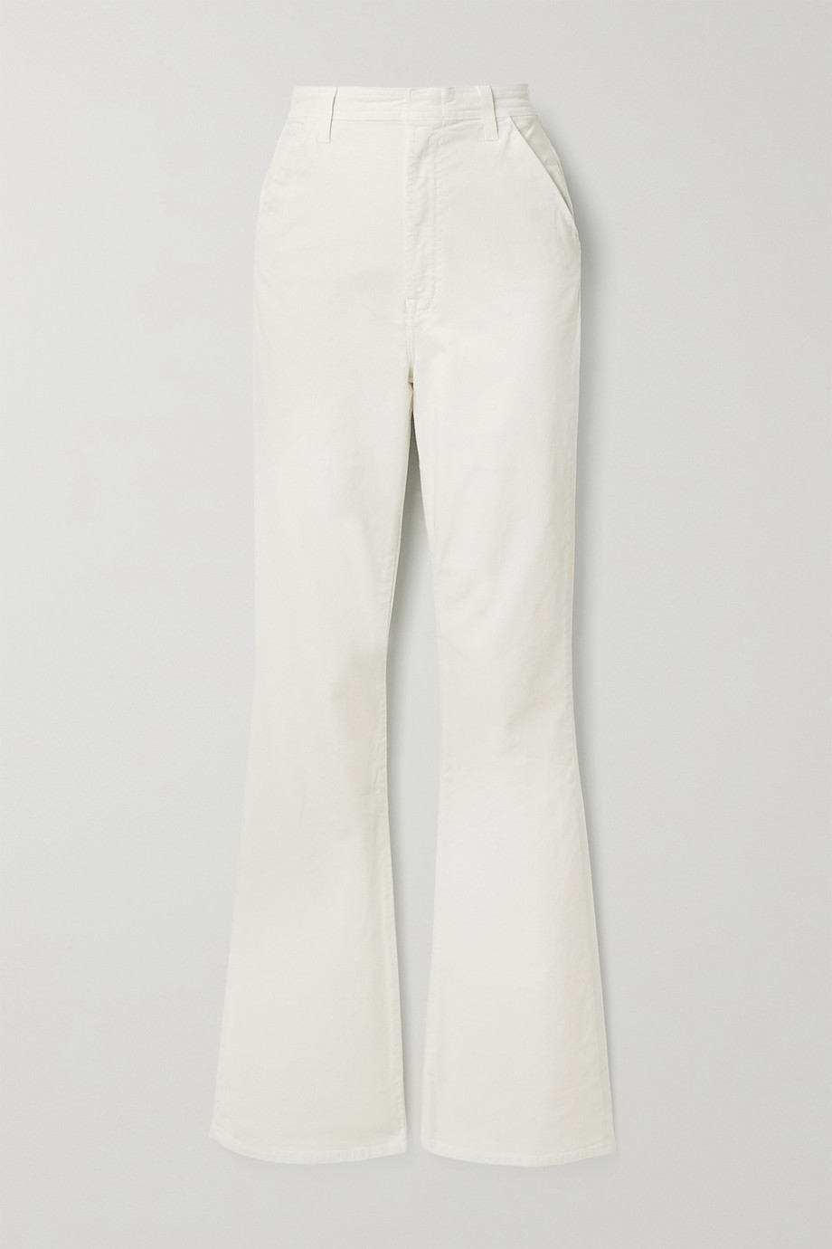 J Brand Pantalon évasé en velours de coton mélangé côtelé Runway