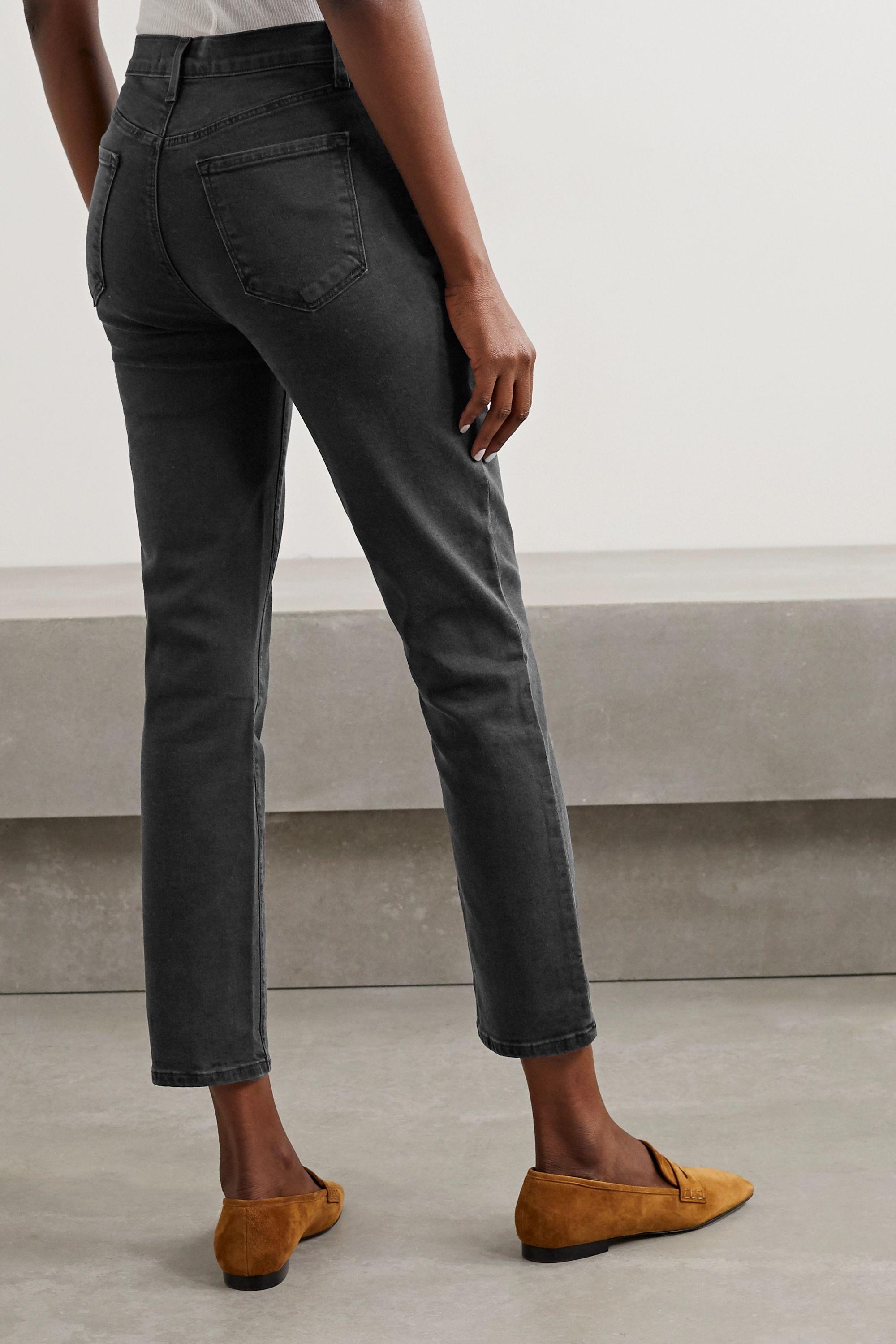 J Brand Alma verkürzte, hoch sitzende Jeans mit geradem Bein