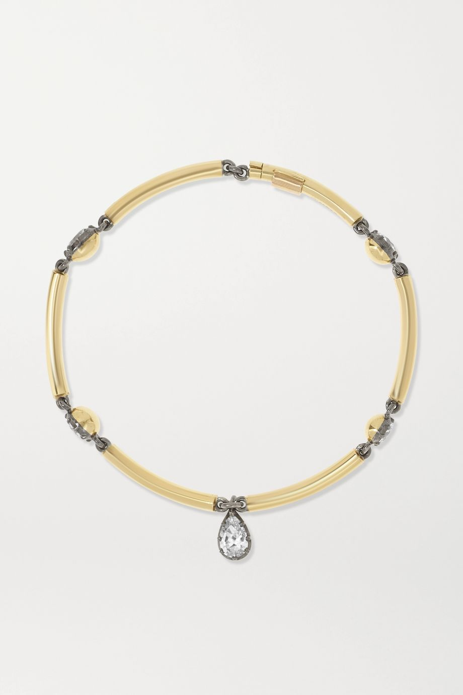 Jessica McCormack Chi Chi 18-karat yellow and blackened white gold diamond bracelet