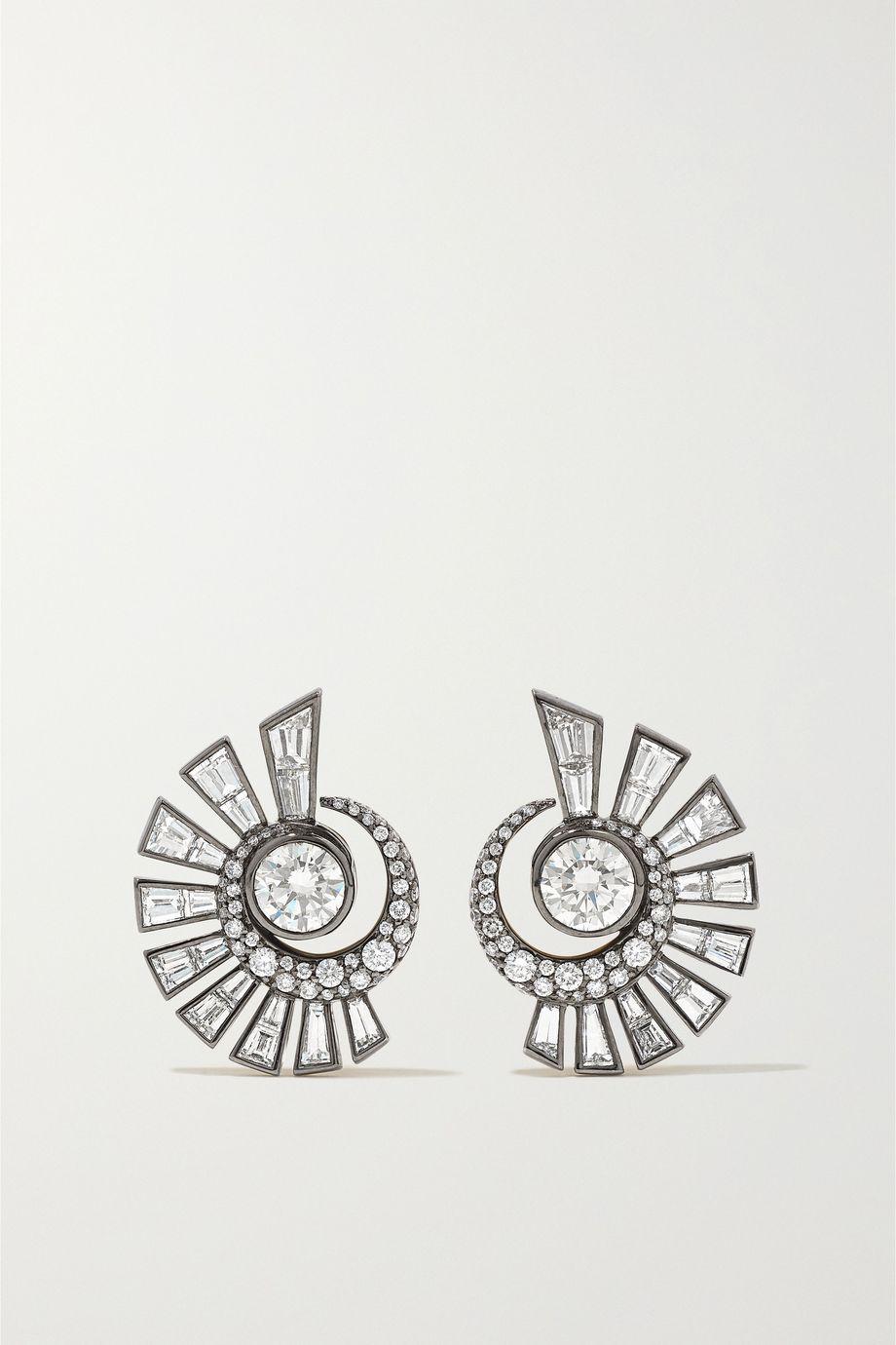 Jessica McCormack Tattoo New York 18-karat blackened white and yellow gold diamond earrings