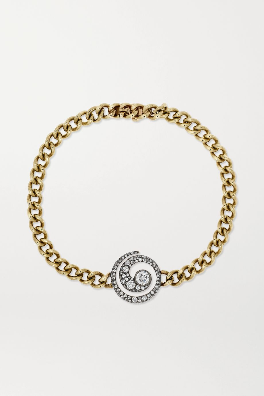 Jessica McCormack Tattoo 18-karat blackened white and 9-karat yellow gold diamond bracelet