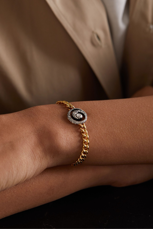 Jessica McCormack Bracelet en or blanc noirci 18 carats, or jaune 9 carats et diamants Tattoo