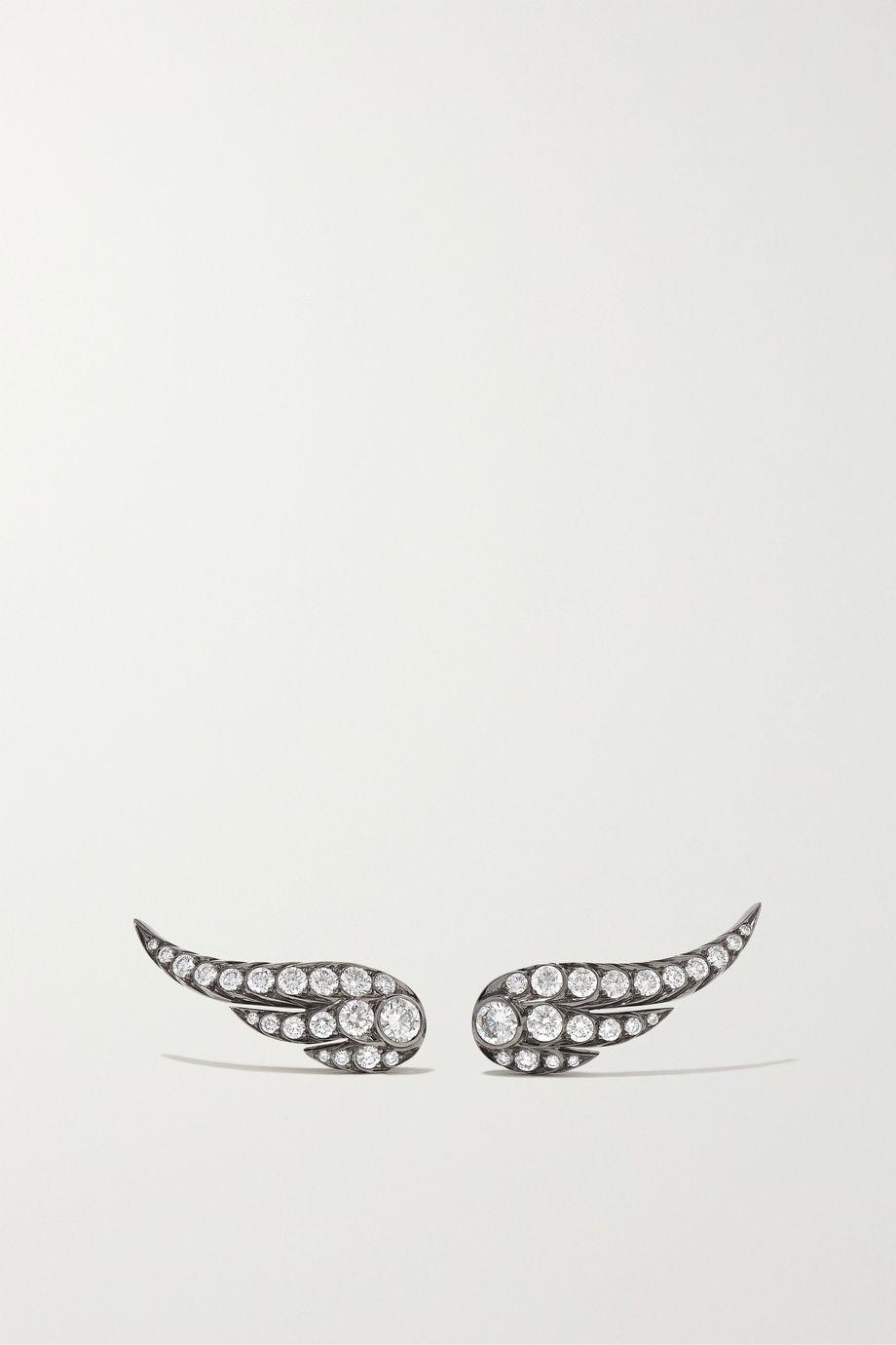 Jessica McCormack Wing of Desire 18-karat blackened white gold diamond earrings