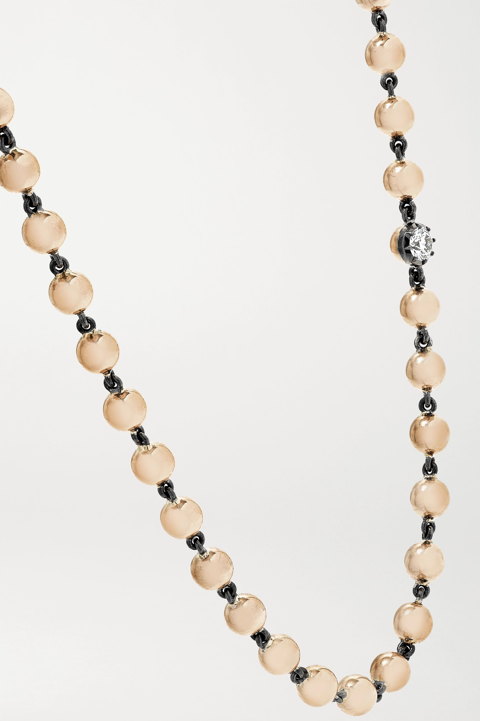 Jessica McCormack Ball n Chain 18-karat rose gold diamond necklace