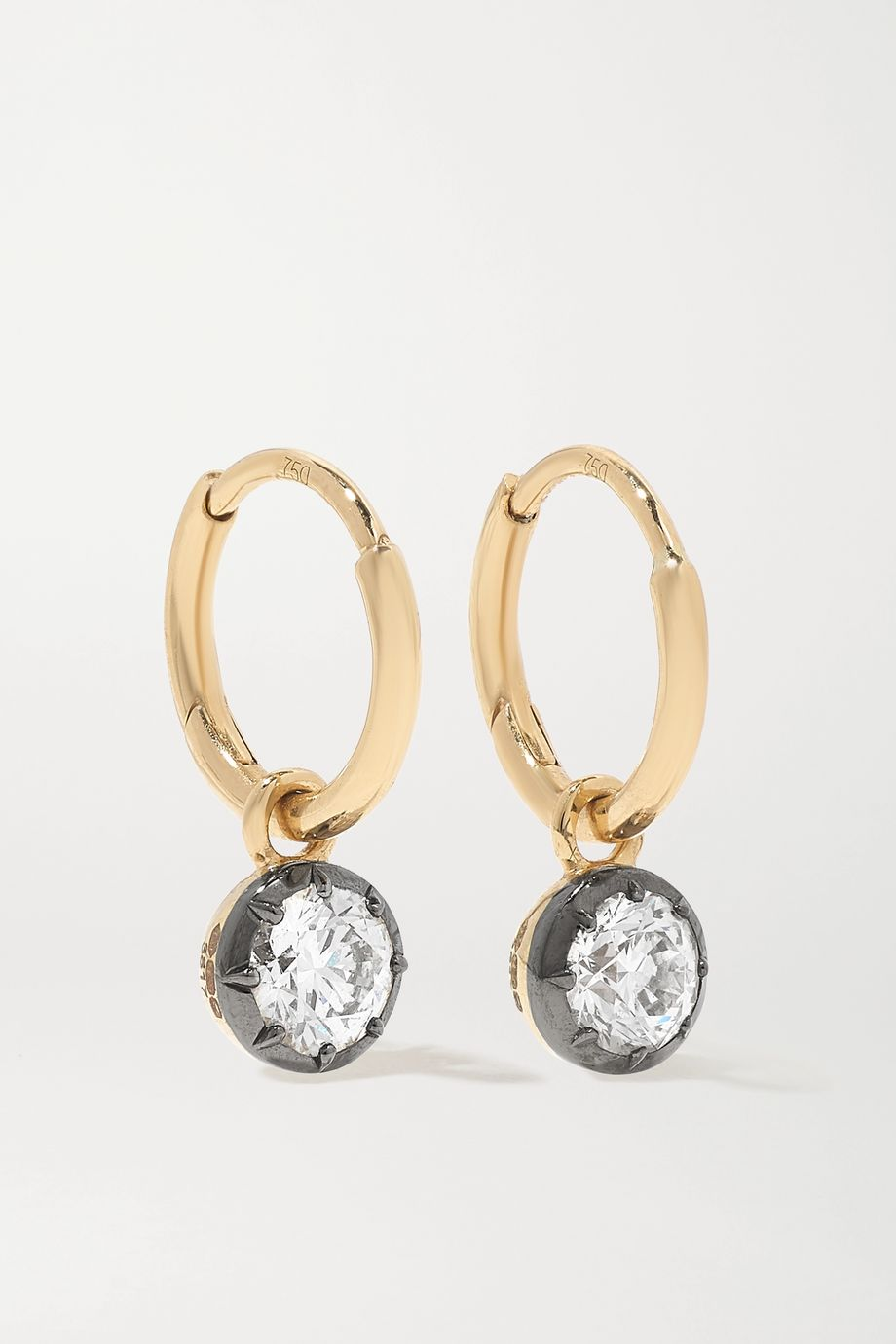 Jessica McCormack Gypset 18-karat yellow and blackened white gold diamond hoop earrings