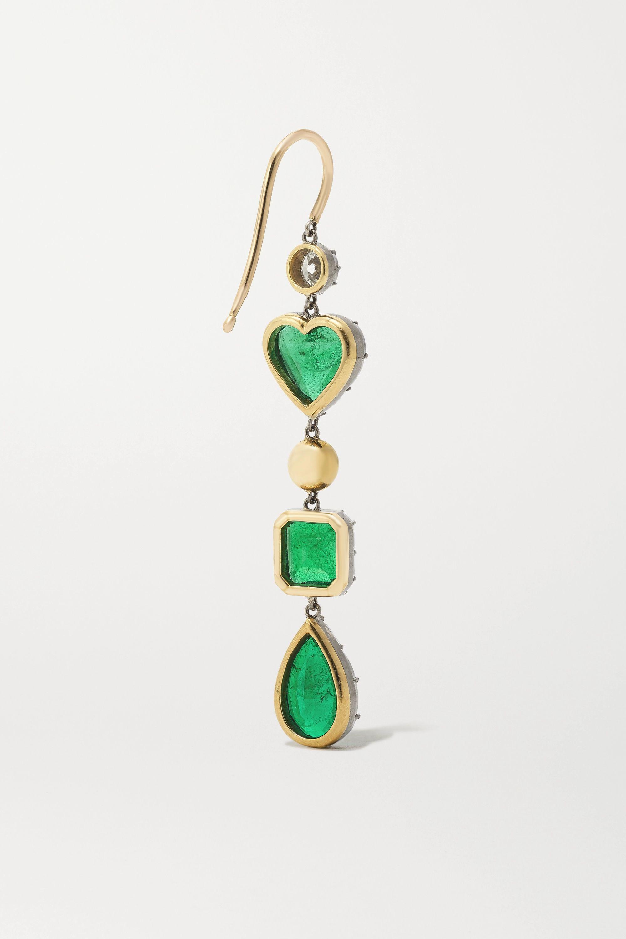 Jessica McCormack Gypset 18-karat blackened white and yellow gold, emerald and diamond earrings
