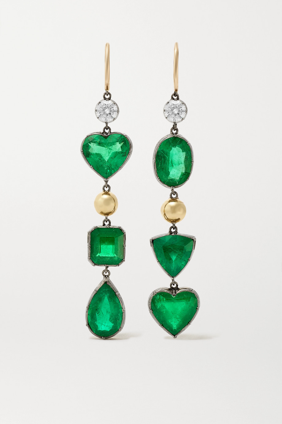 Jessica McCormack Gypset 18-karat blackened white and yellow gold, emerald and diamond earrings