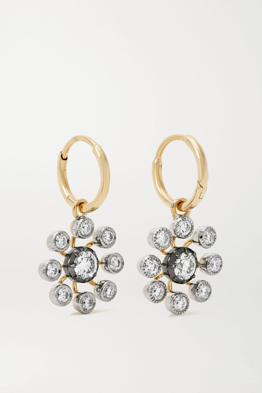 Jessica McCormack Gypset Bloom 18-karat blackened white and yellow gold diamond earrings