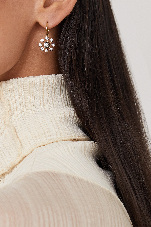 Jessica McCormack Boucles d'oreilles en or blanc noirci et jaune 18 carats et diamants Gypset Bloom