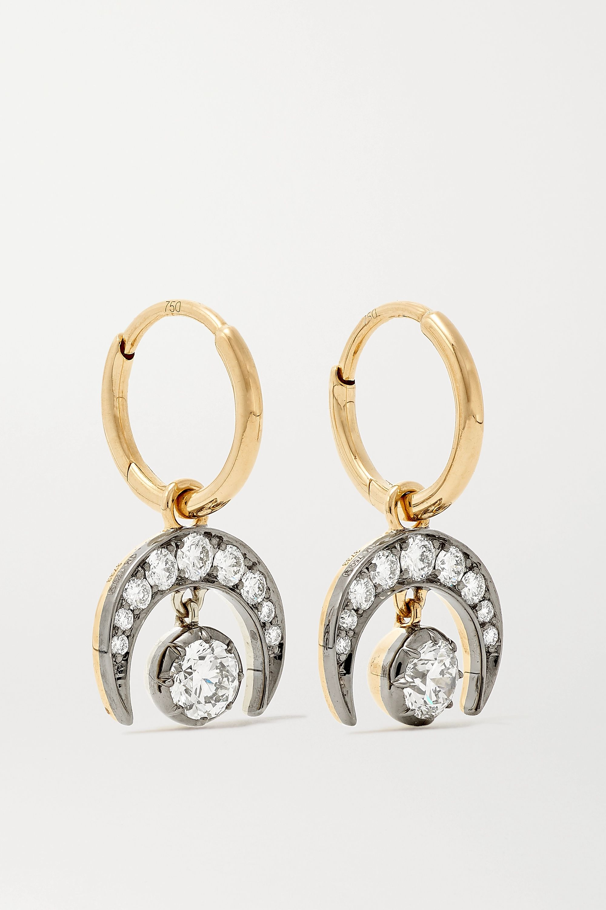 Jessica McCormack Gypset 18-karat yellow and blackened white gold diamond earrings