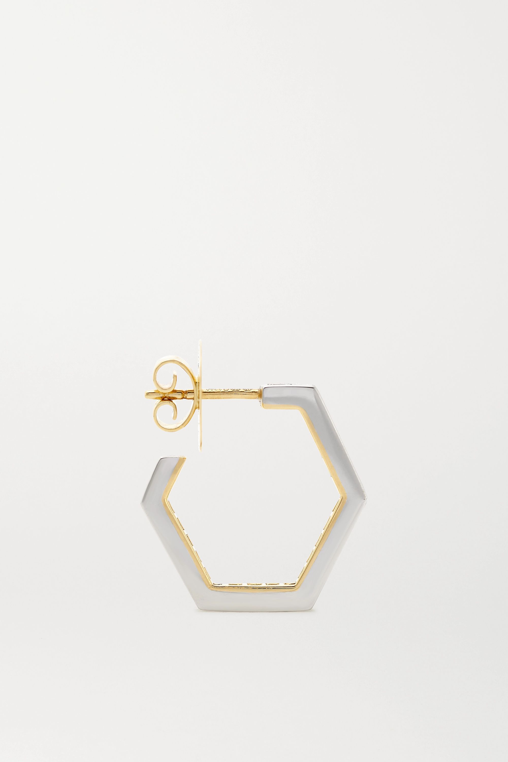 Jessica McCormack Hex Hoop 18-karat white and yellow gold diamond earrings