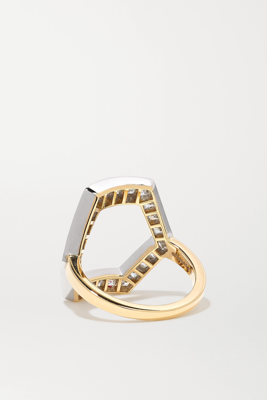 Jessica McCormack Hex 18-karat yellow and blackened white gold diamond ring