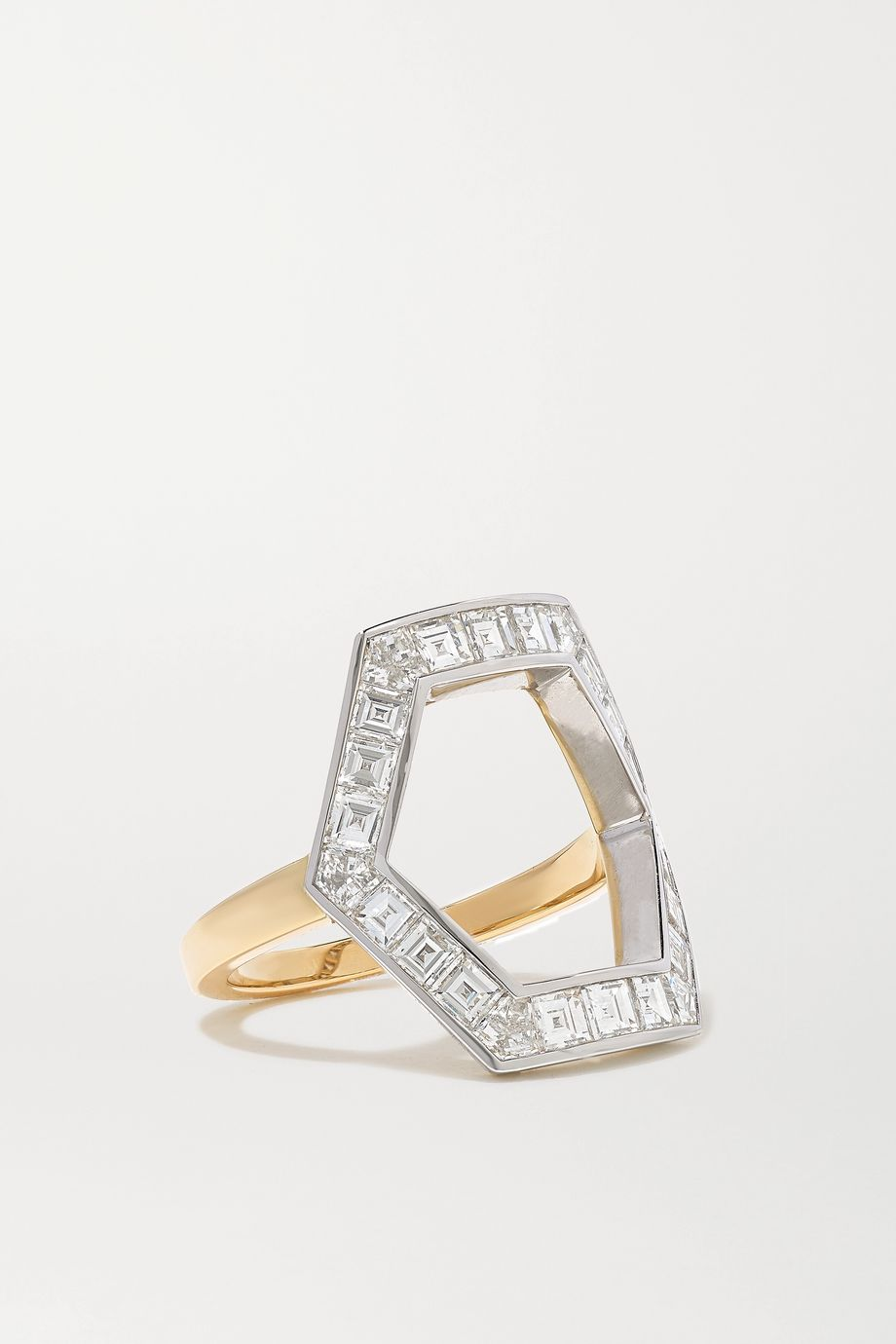 Jessica McCormack Hex 18-karat yellow and blackened white gold diamond ring