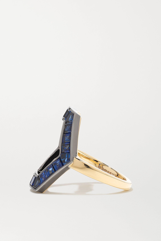 Jessica McCormack Hex 18-karat yellow and blackened white gold sapphire ring