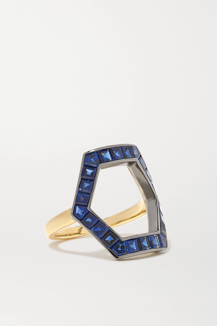 Jessica McCormack Hex 18-karat yellow and blackened white gold sapphire ring