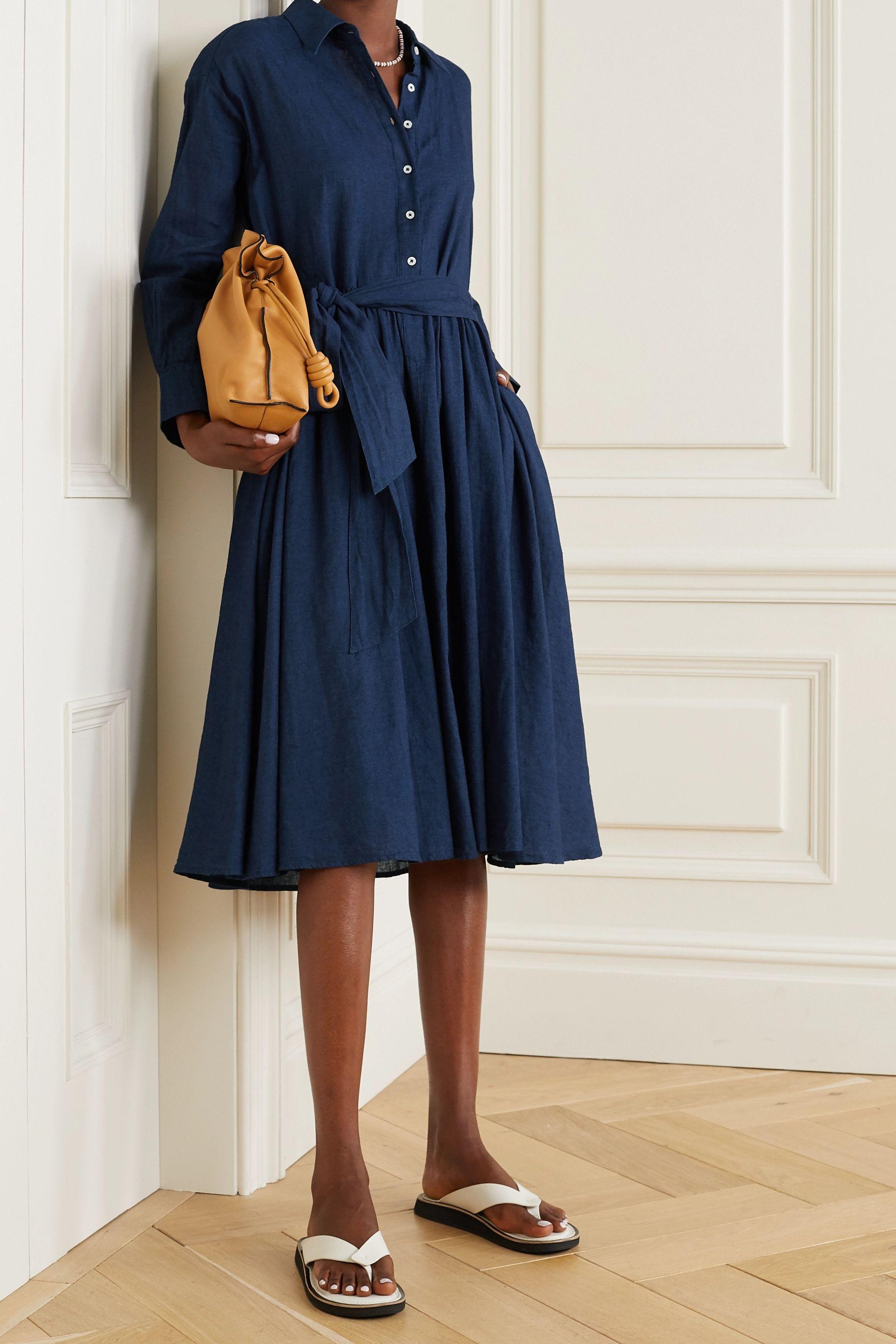 Alex Mill Camilla belted linen and cotton-blend midi shirt dress