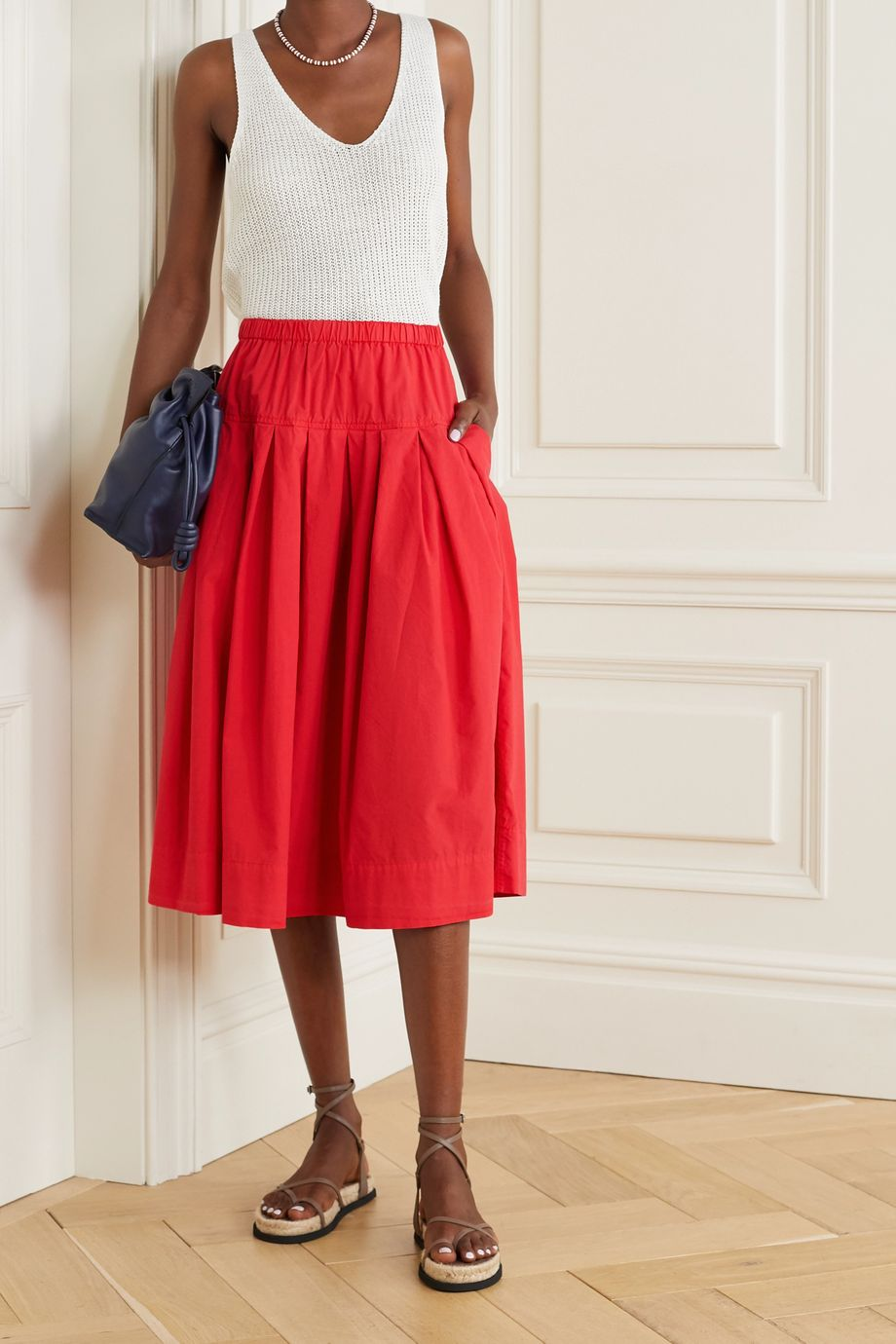 Alex Mill Pleated cotton-poplin midi skirt