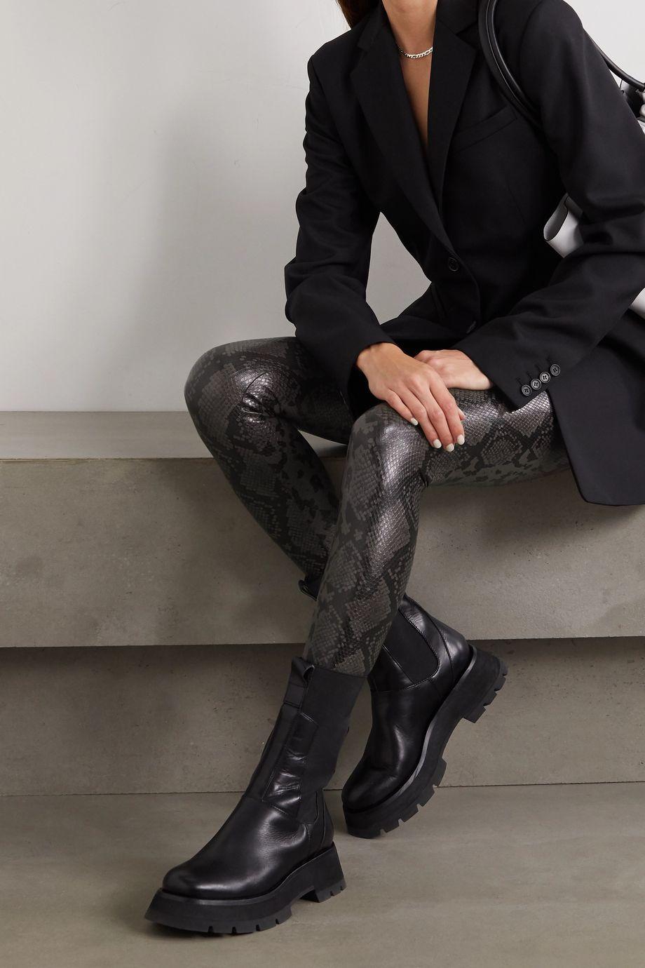 Commando Leggings aus Kunstleder mit Schlangeneffekt