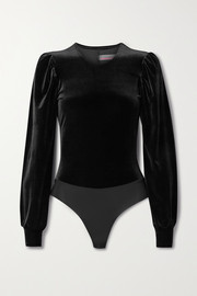 Commando Velvet and stretch-jersey thong bodysuit