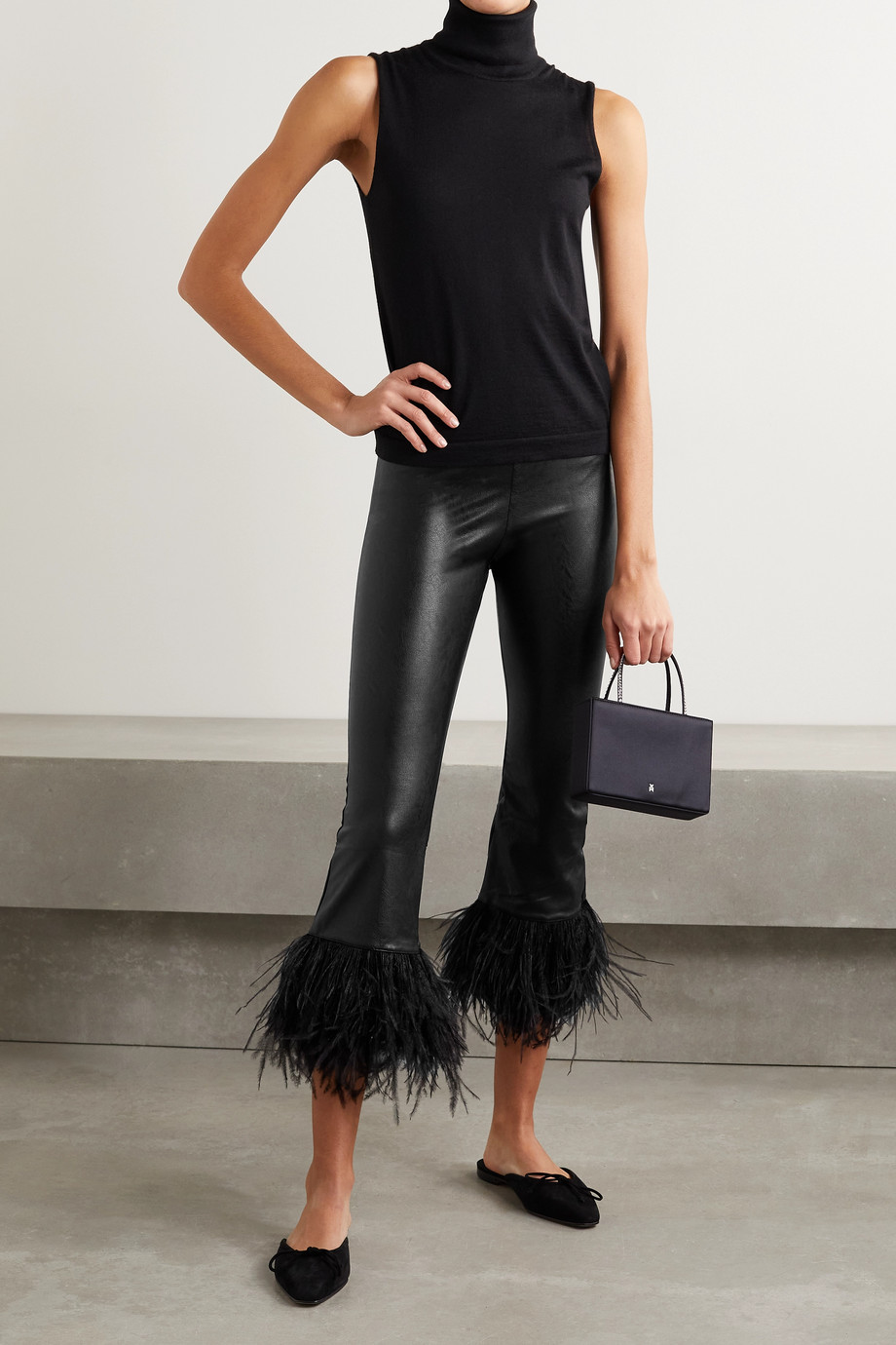 Commando Feather-trimmed faux leather leggings