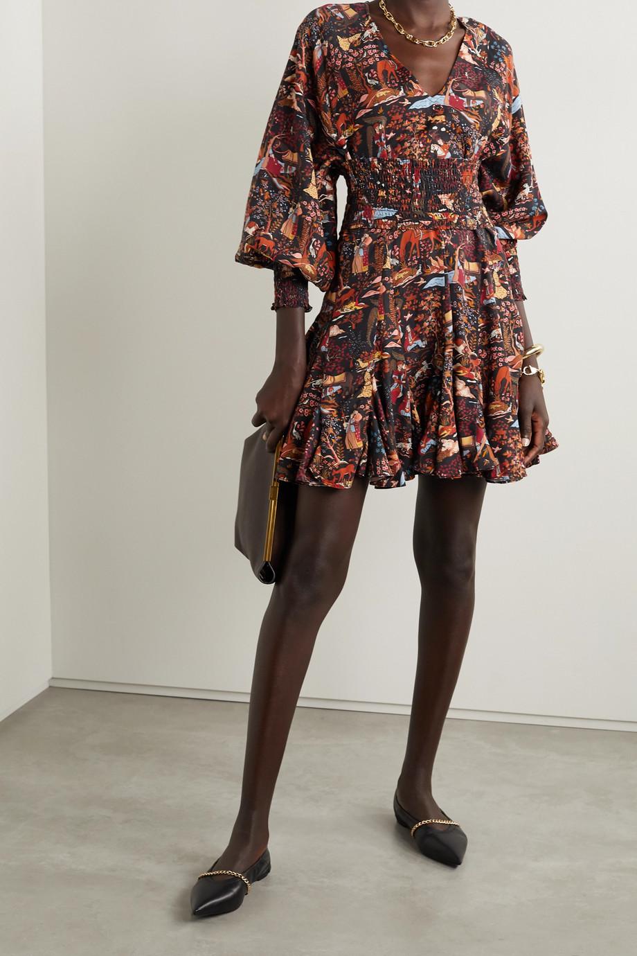 Rhode Olivia 配腰带印花天丝斜纹布迷你连衣裙
