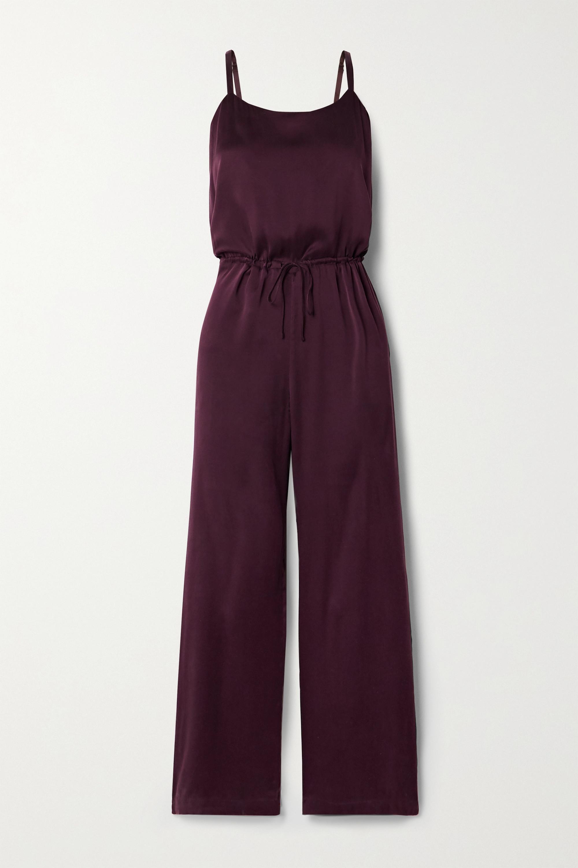 Skin Tiffany 水洗真丝混纺查米尤斯绸缎连身裤