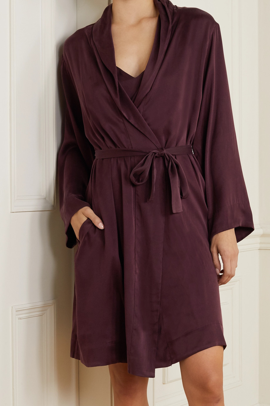Skin Tina washed silk-blend satin robe