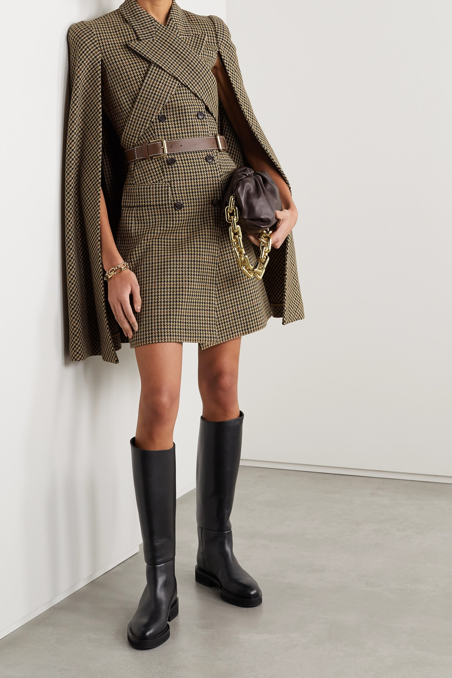 Michael Kors Collection Cape-effect belted double-breasted houndstooth wool mini dress