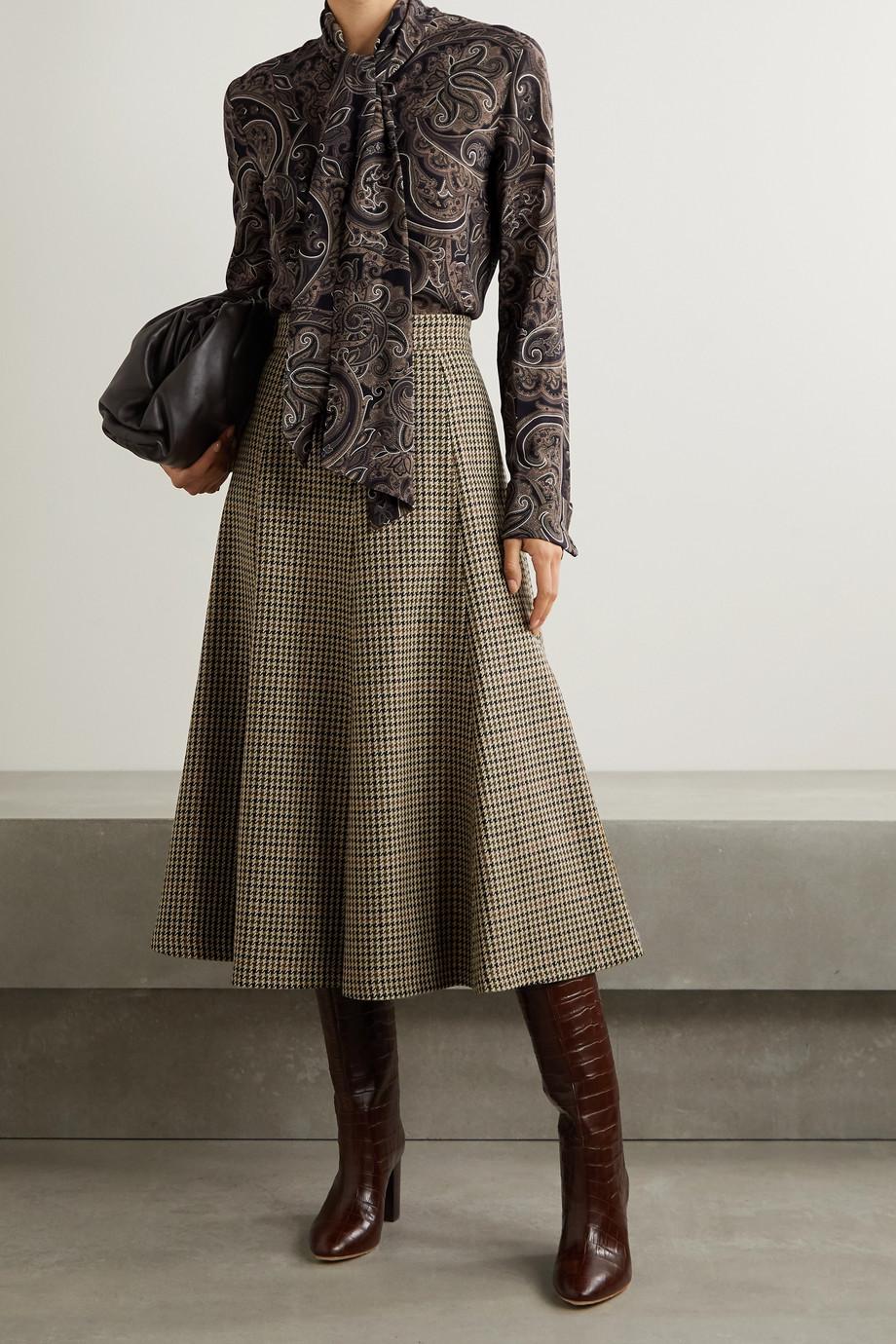 Michael Kors Collection Houndstooth wool midi skirt