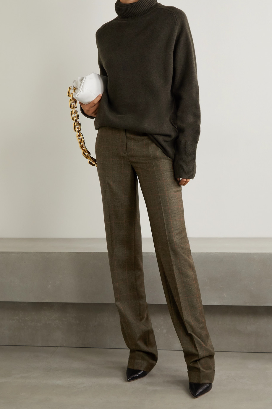 Michael Kors Collection Checked wool straight-leg pants