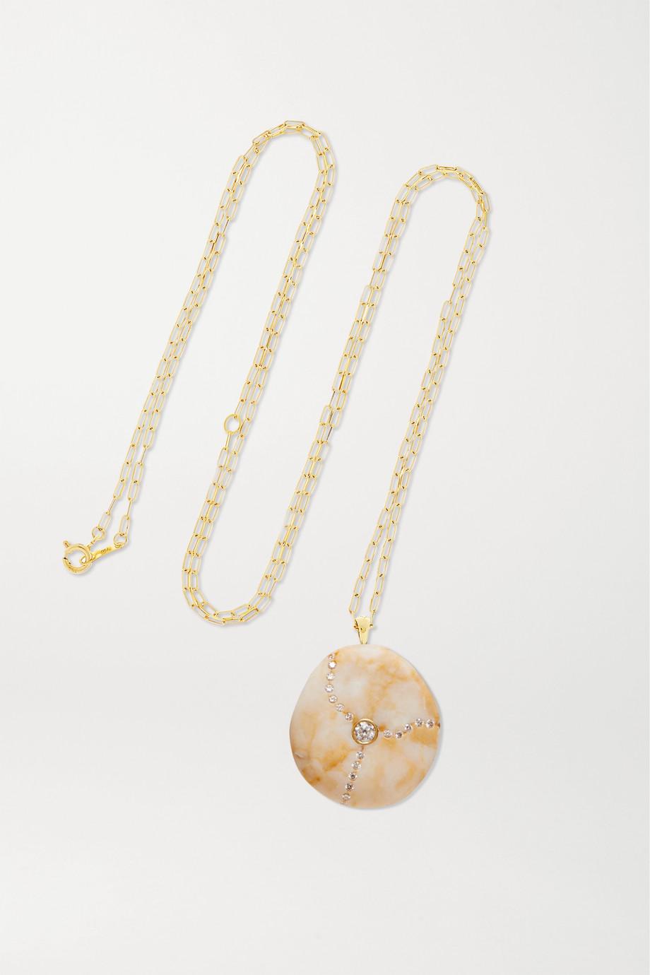 CVC Stones Tea 18-karat gold, stone and diamond necklace