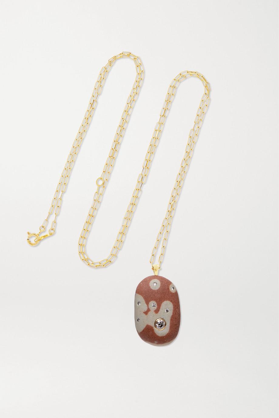 CVC Stones Blob Kette aus 18 Karat Gold mit Kieselstein und Diamanten