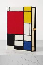 Olympia Le-Tan Mondrian embroidered appliquéd canvas clutch