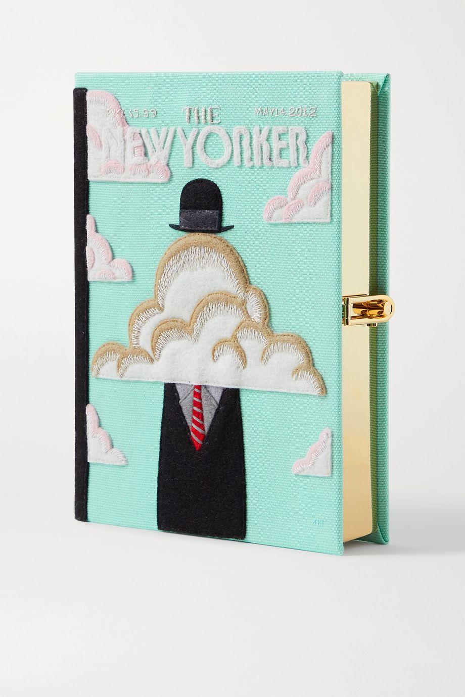 Olympia Le-Tan The New Yorker Clutch aus Canvas mit Applikationen und Stickereien