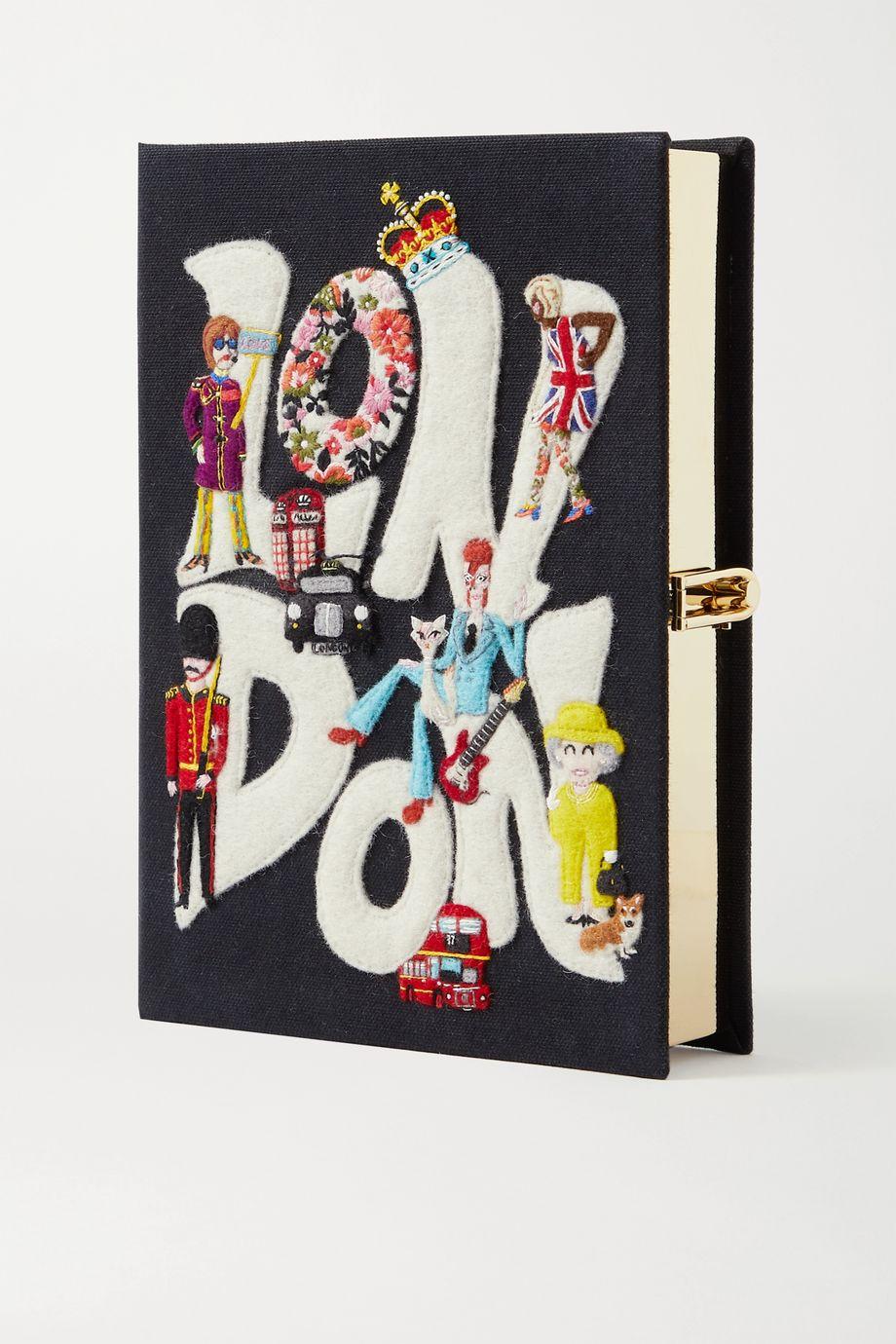 Olympia Le-Tan London Clutch aus Canvas mit Applikationen und Stickereien