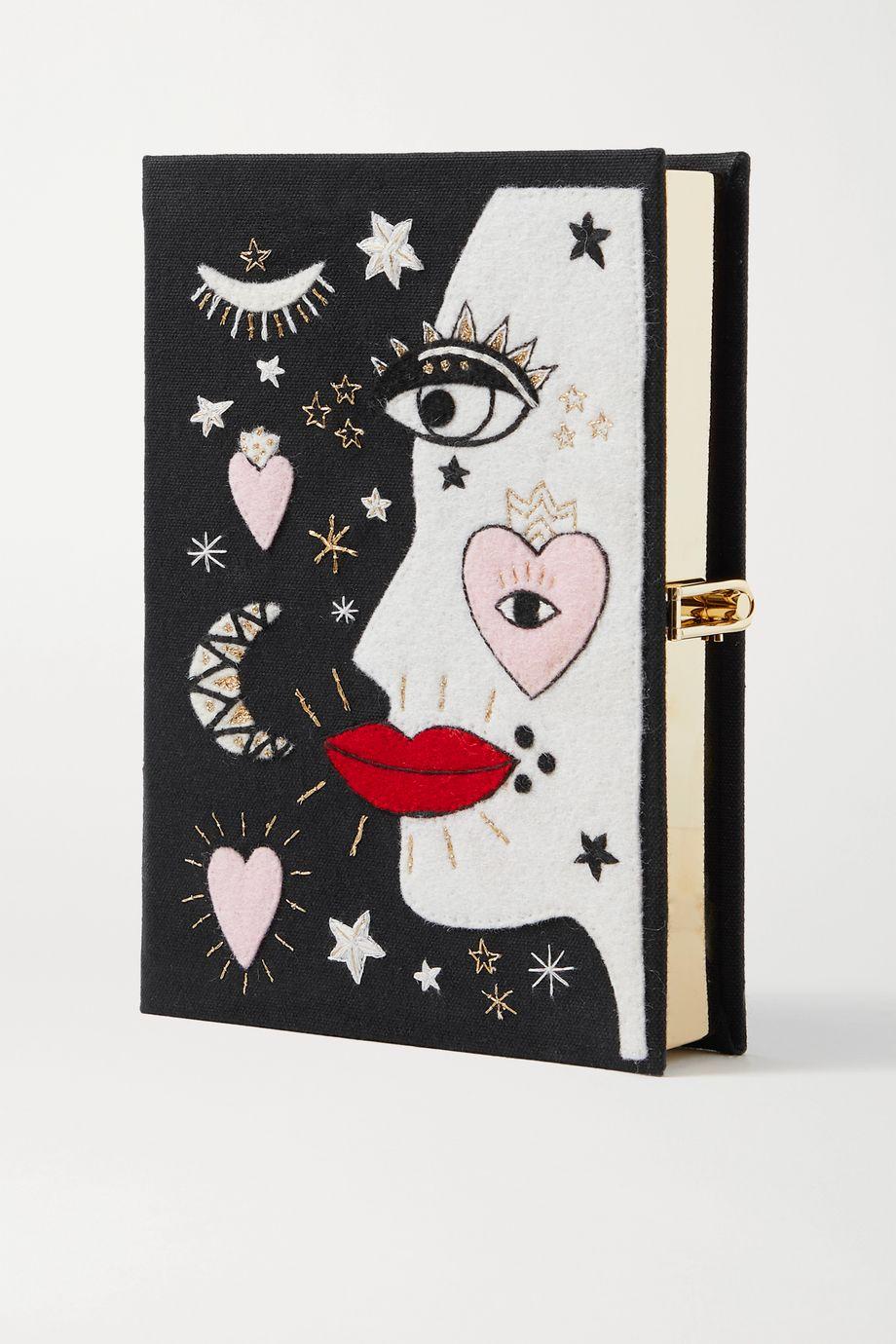 Olympia Le-Tan Face Clutch aus Canvas mit Stickereien und Applikationen