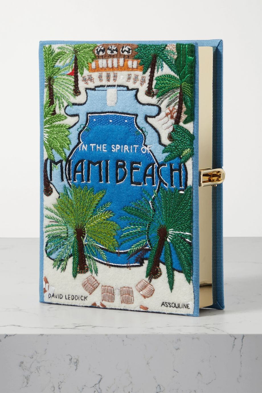 Olympia Le-Tan Miami Beach embroidered appliquéd canvas clutch