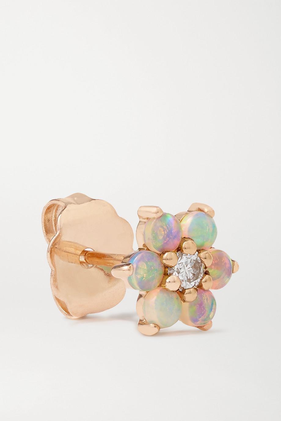 MARIA TASH 18K 玫瑰金、蛋白石、钻石单只耳钉