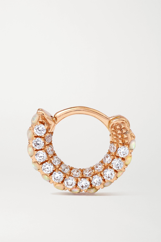 MARIA TASH 18K 玫瑰金、蛋白石、钻石单只耳环(5 毫米)