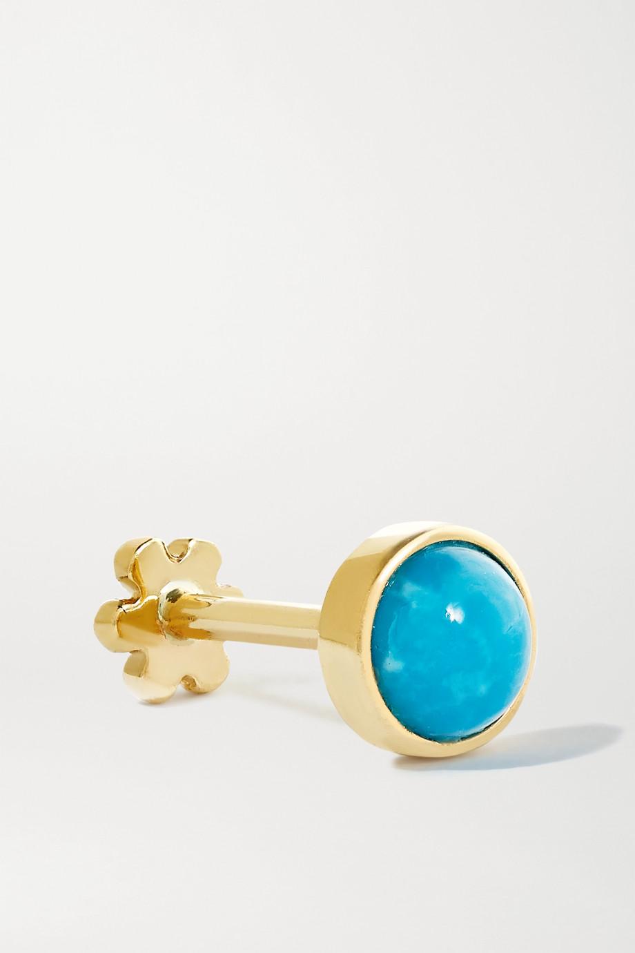 Maria Tash 4 mm Ohrring aus 14 Karat Gold mit Türkis