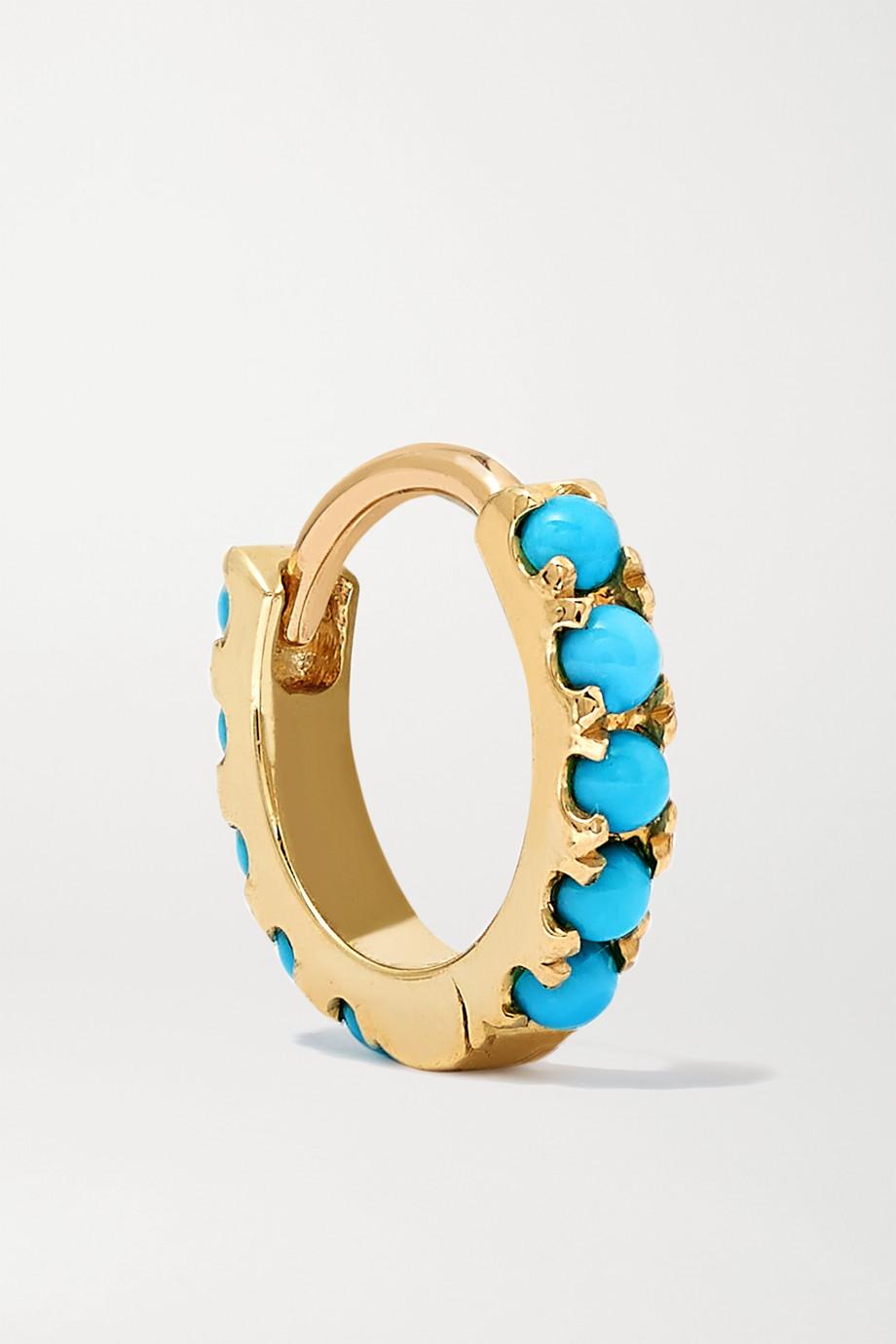 MARIA TASH 6.5mm 14-karat gold turquoise hoop earring