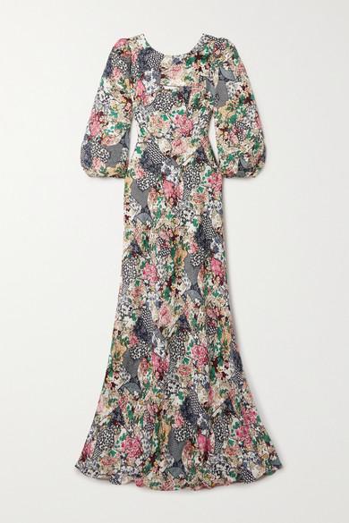 Saloni Dresses LILY-B FLORAL-PRINT SILK-JACQUARD GOWN