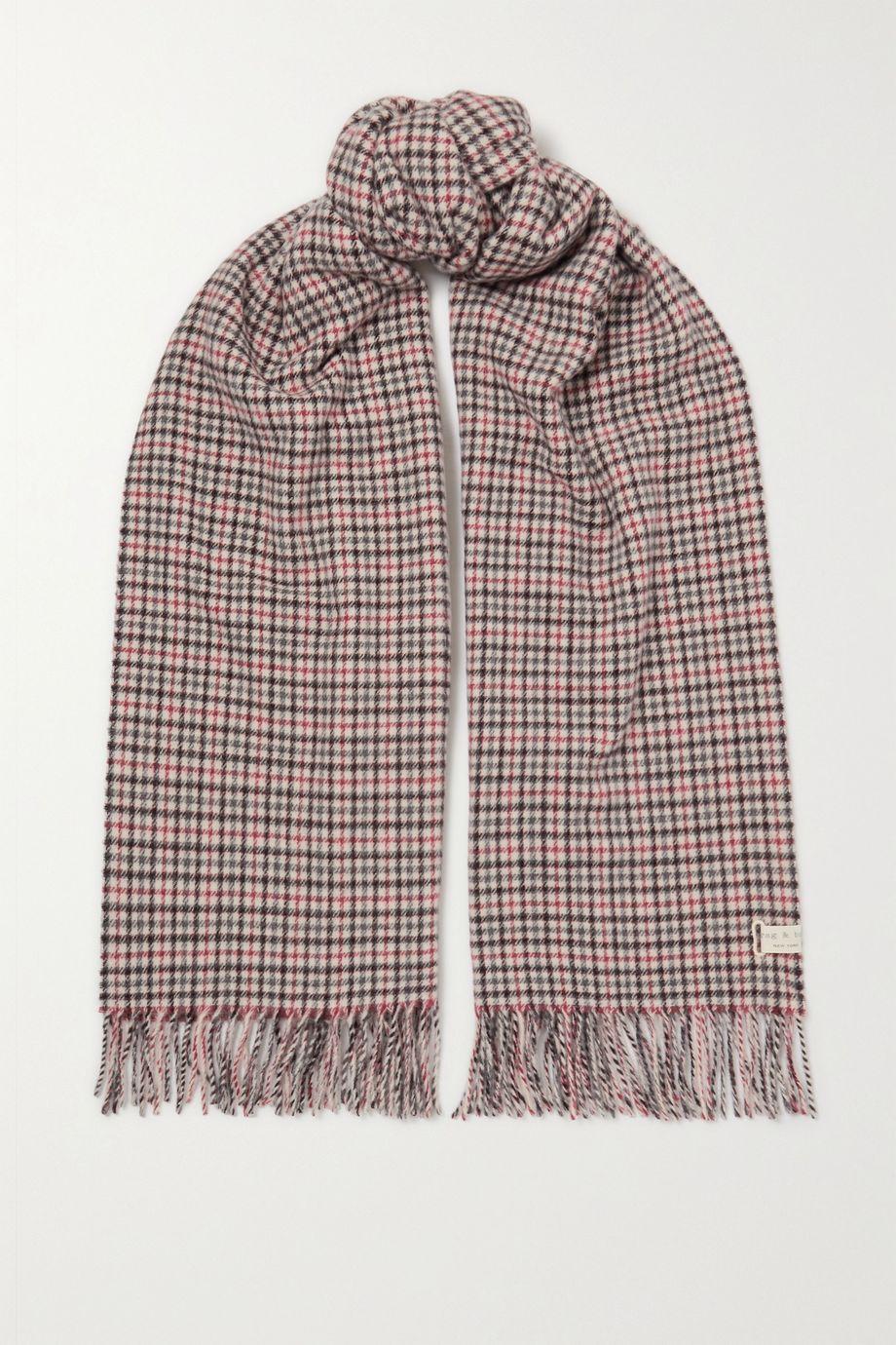 rag & bone Fringed checked wool scarf