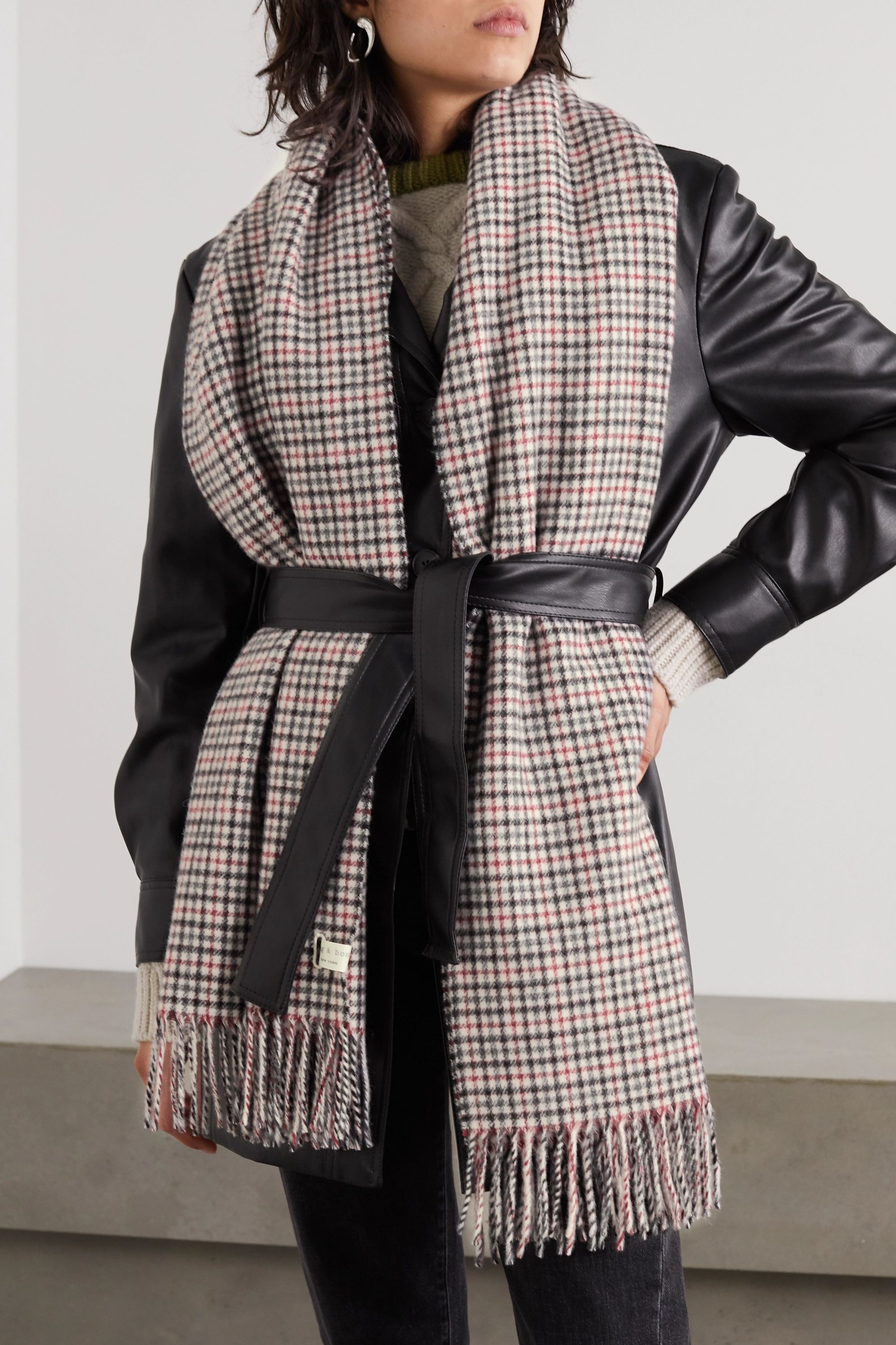 rag & bone Fringed checked wool scarf